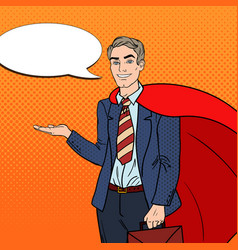 pop art happy super businessman in red cape vector image