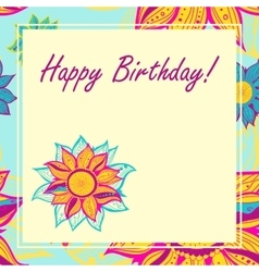 Postcard with flowers happy birthday vector