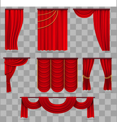 Realistic red velvet stage curtains scarlet vector