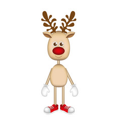 reindeer standing with gloves and shoes vector image vector image