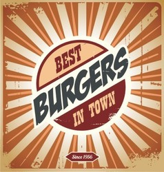 Retro burger sign vintage poster template vector image vector image