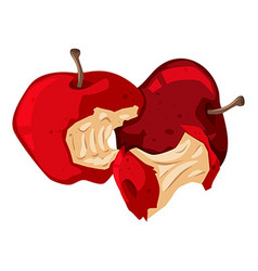 Rotten red apples on white vector
