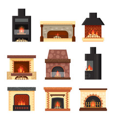 set different colorful home fireplaces with vector image vector image