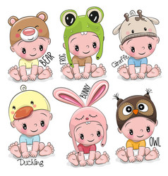 set of cute cartoon babies vector image vector image