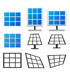 Set of solar panels in many style vector