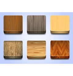 Six icons with wooden texture vector image vector image