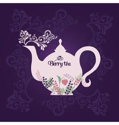 Teapot with berries vector