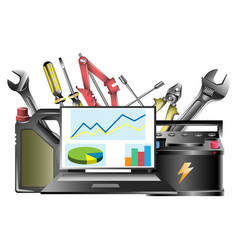 the concept of tools in a car workshop vector image vector image