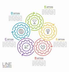thin line circle infographic template with gears 5 vector image