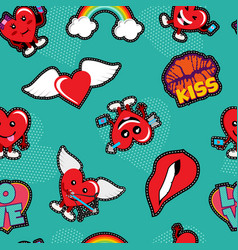 Valentines day love patch icon seamless pattern vector