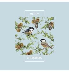 Vintage Christmas Card - Winter Birds vector image vector image