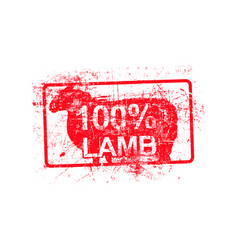 100 per cent lamb - red rubber grungy stamp in vector
