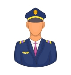 Pilot icon in cartoon style vector