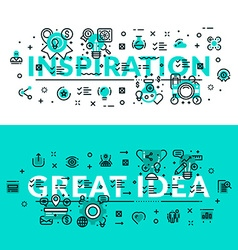 Inspiration and great idea heading title web vector