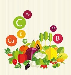 Vegetables fruit and vitamins vector image