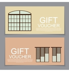 Gift voucher template with variation of windows vector