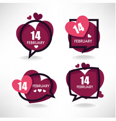 14 february collection of hearts and love logo vector image vector image