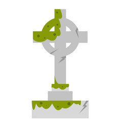 Irish celtic cross with green slime icon isolated vector