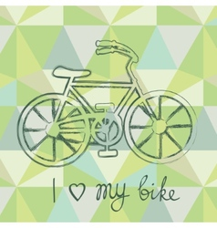 Bicycle silhouette on geometric background vector image