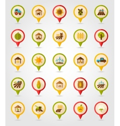 Farm field flat mapping pin icon with long shadow vector