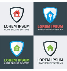 Home security with shield logo design concepts vector