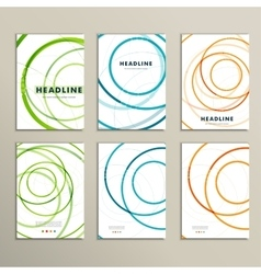 Six pattern with abstract circle brochures vector