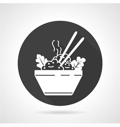 Rice dish black round icon vector