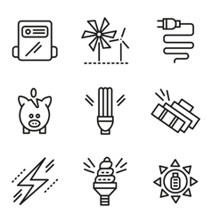 Simple line icons for saving energy concept vector