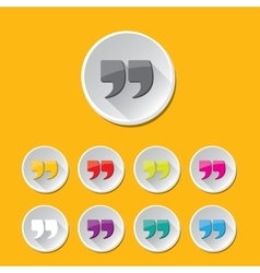 Quote sign icon set quotation mark button vector