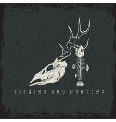 Hunting and fishing vintage grunge emblem with vector