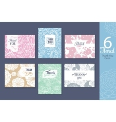 Six floral wedding thank you cards set with vector