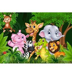 Cute animal africa in the jungle vector