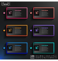 Infographic design list with colorful squares vector image