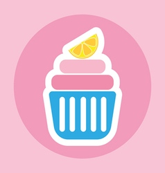 Card with a cream cake with a slice of lemon on to vector