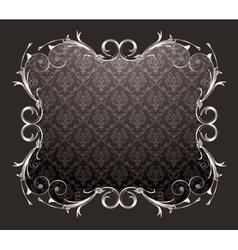 damask floral frame vector image
