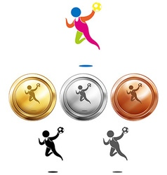 Sport icon for handball and medals vector