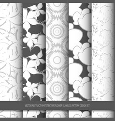 Abstract white texture flower seamless pattern vector