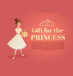 banner with beautiful girl cartoon with gift in vector image