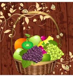 basket of fruit vector image vector image