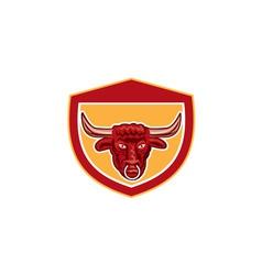 Bull head front view crest retro vector