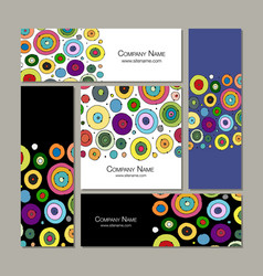 Business cards set abstract circles design vector