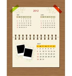 calendar2012 july vector image vector image