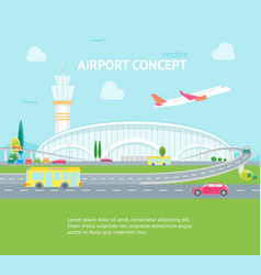 cartoon airport building and plane concept banner vector image vector image