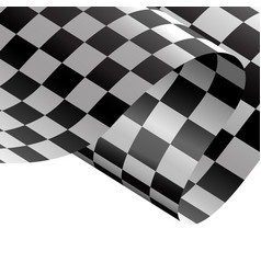 checkered flag flying wave white background race vector image