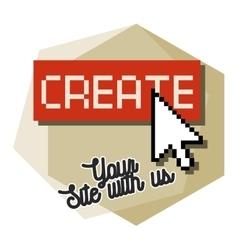 Clolor vintage web studio emblem vector
