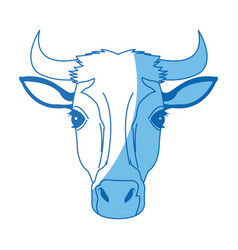 Cow head horns aminal rural farm vector