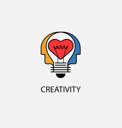 creative light bulbheart icon and human heads vector image vector image