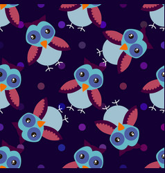 Cute cartoon seamless pattern with dots and owls vector