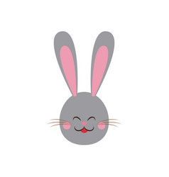 cute easter bunny gray face vector image vector image