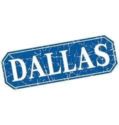 Dallas blue square grunge retro style sign vector